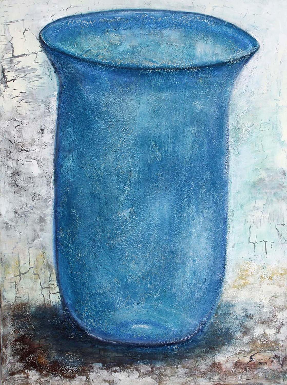 Vase in blau